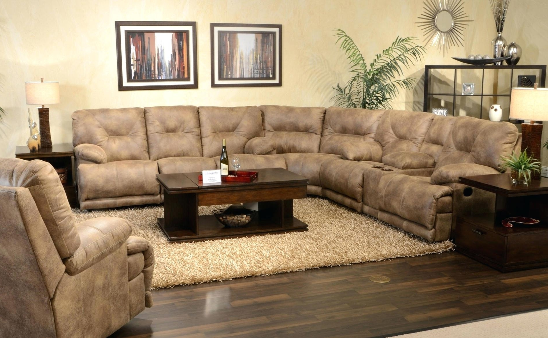 U Shaped Sectionals With Regard To Well Known Coffee Tables For Sectionals Table Brown Leather Sectional U (View 14 of 15)