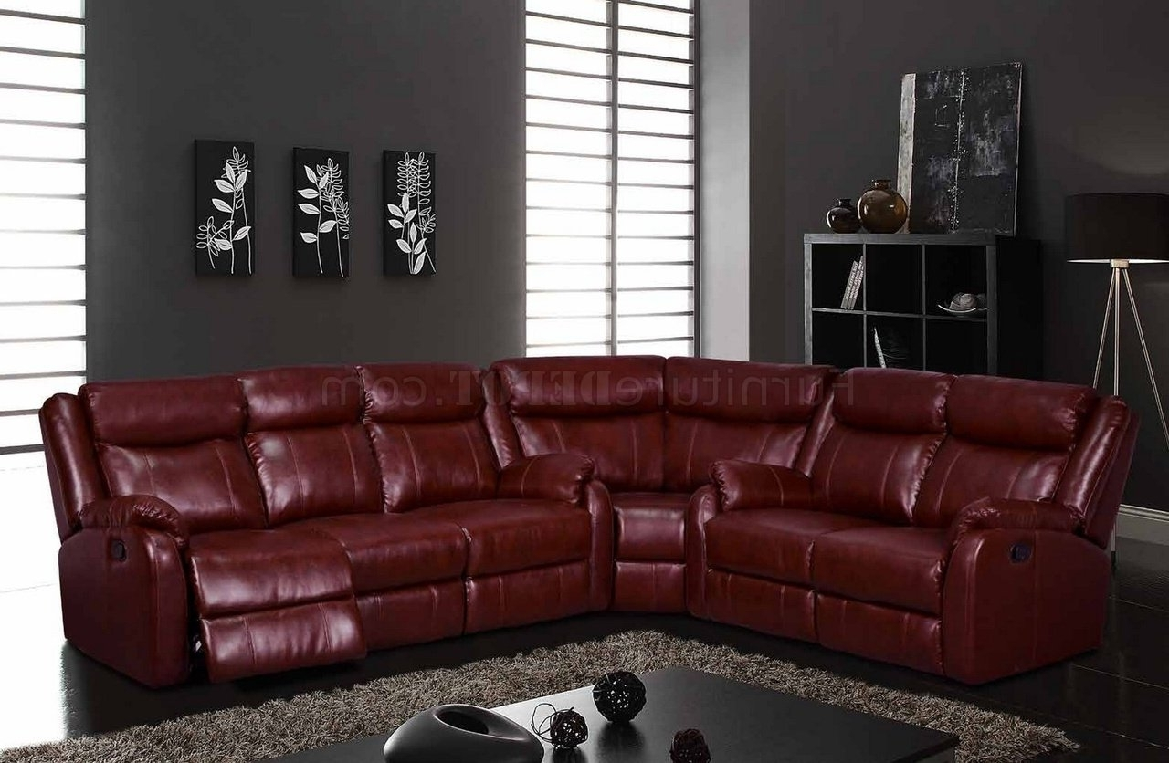 U9303 Motion Sectional Sofa In Burgundyglobal With Regard To Favorite Leather Motion Sectional Sofas (View 13 of 15)