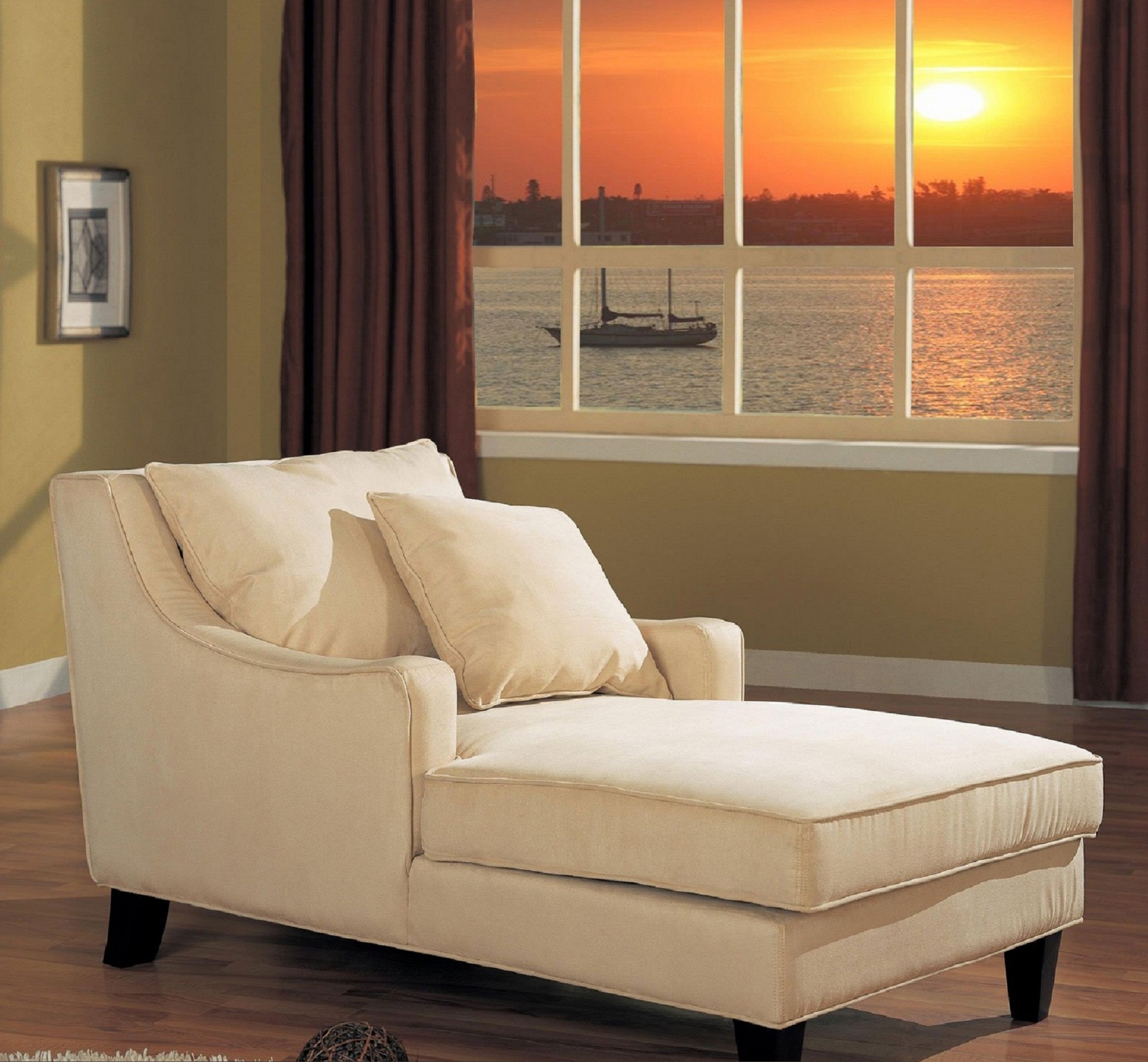 Upholstered Chaise Lounge Chairs throughout Well known Wide Beige Upholstered Chaise Lounge With Arm And Cushion Having