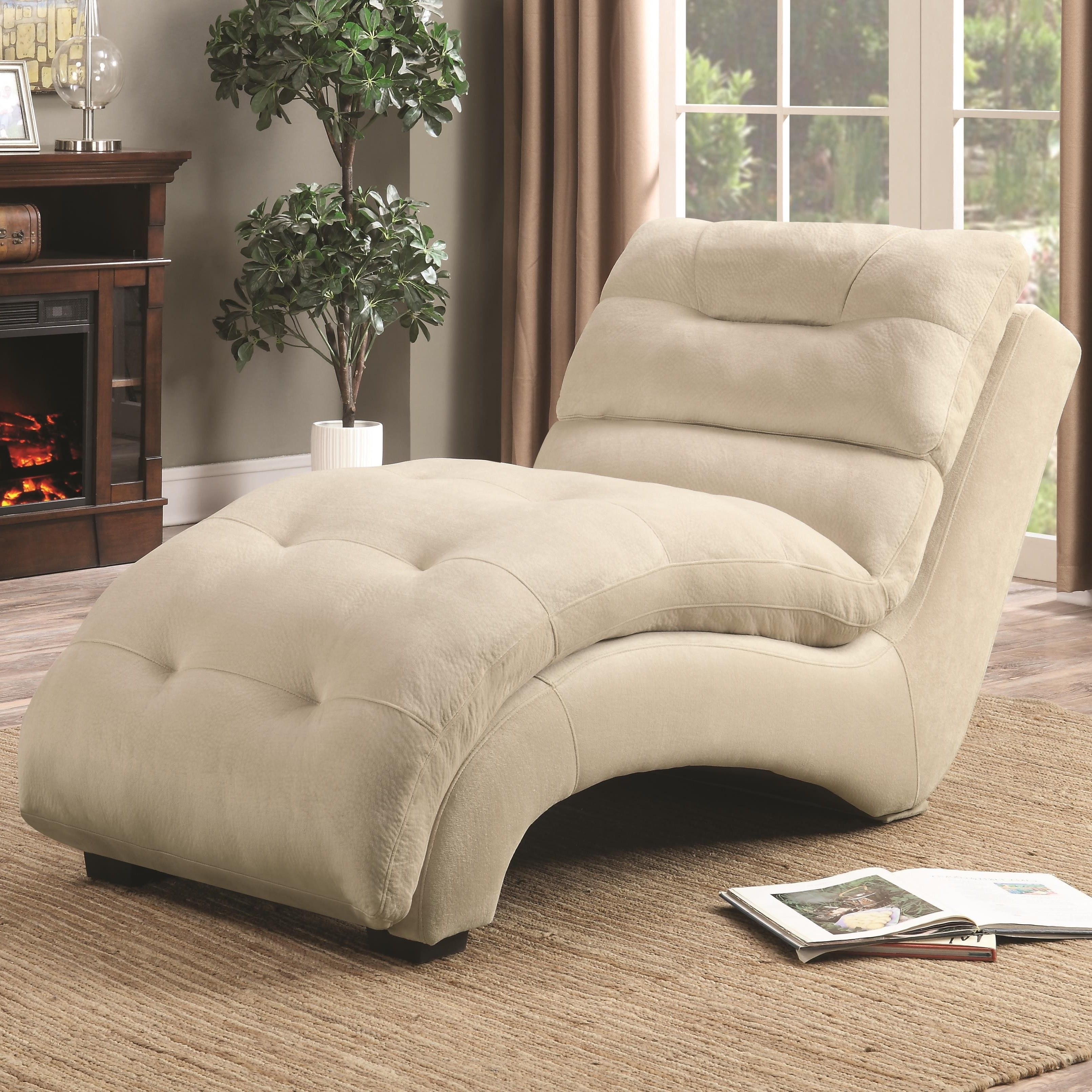 Upholstered Chaises For Newest Coaster 550347 Accent Chaise With Arched Base In Tan Padded Upholstery (View 7 of 15)