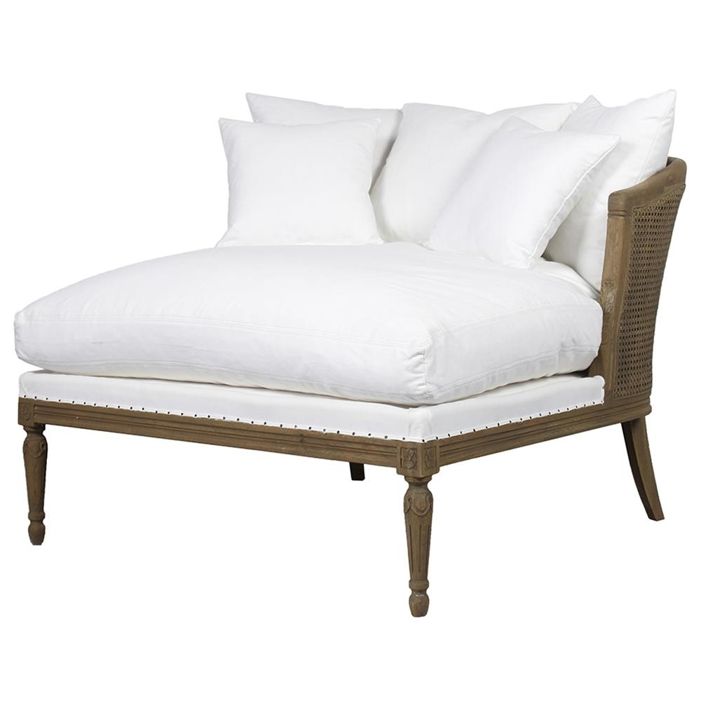 Upholstered Chaises In Most Popular Calais French Country Classic Cane Back Winter White Upholstered (View 9 of 15)