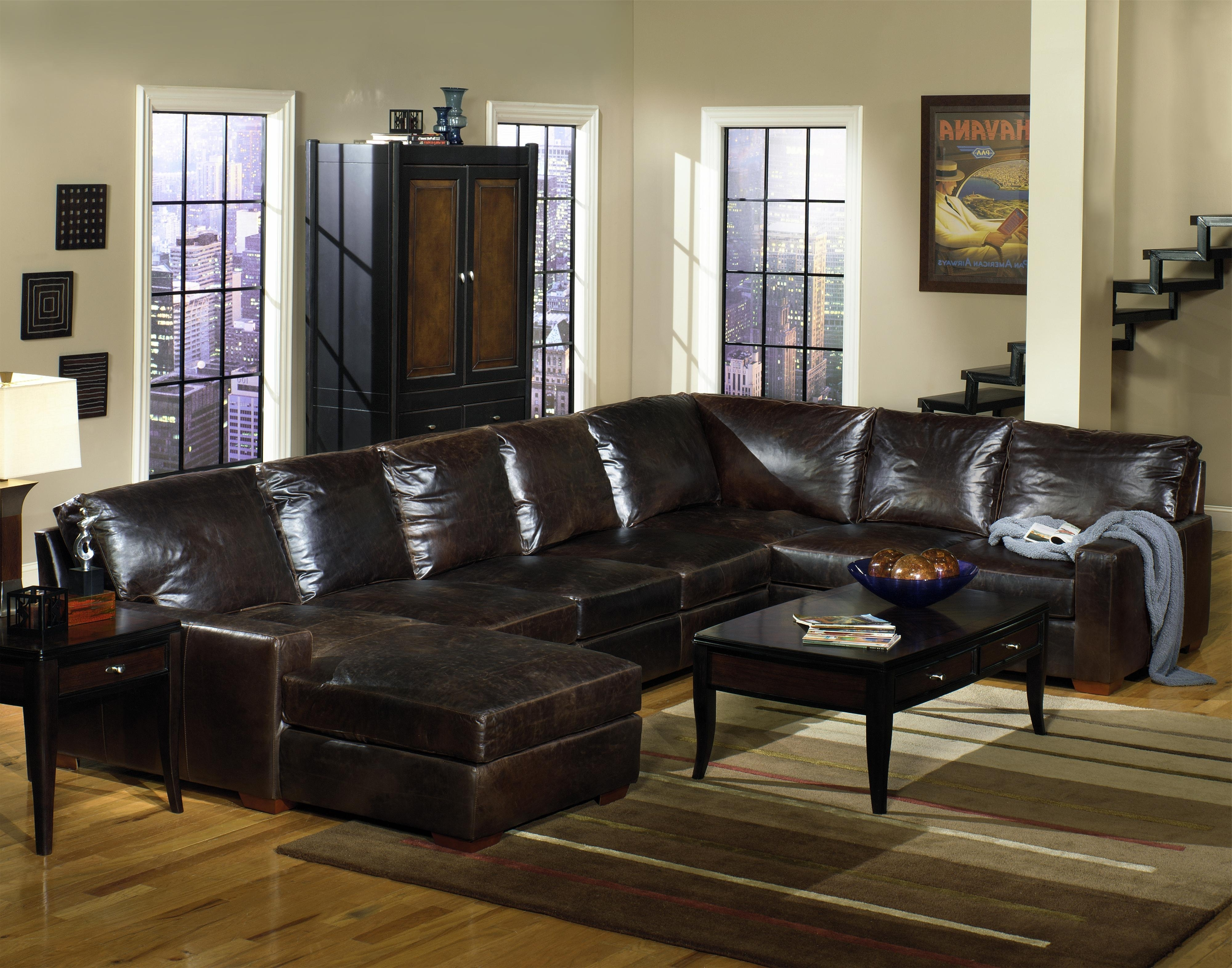 Usa Premium Leather 9935 Track Arm Sofa Chaise Sectional inside Well known Brown Leather Sectionals With Chaise