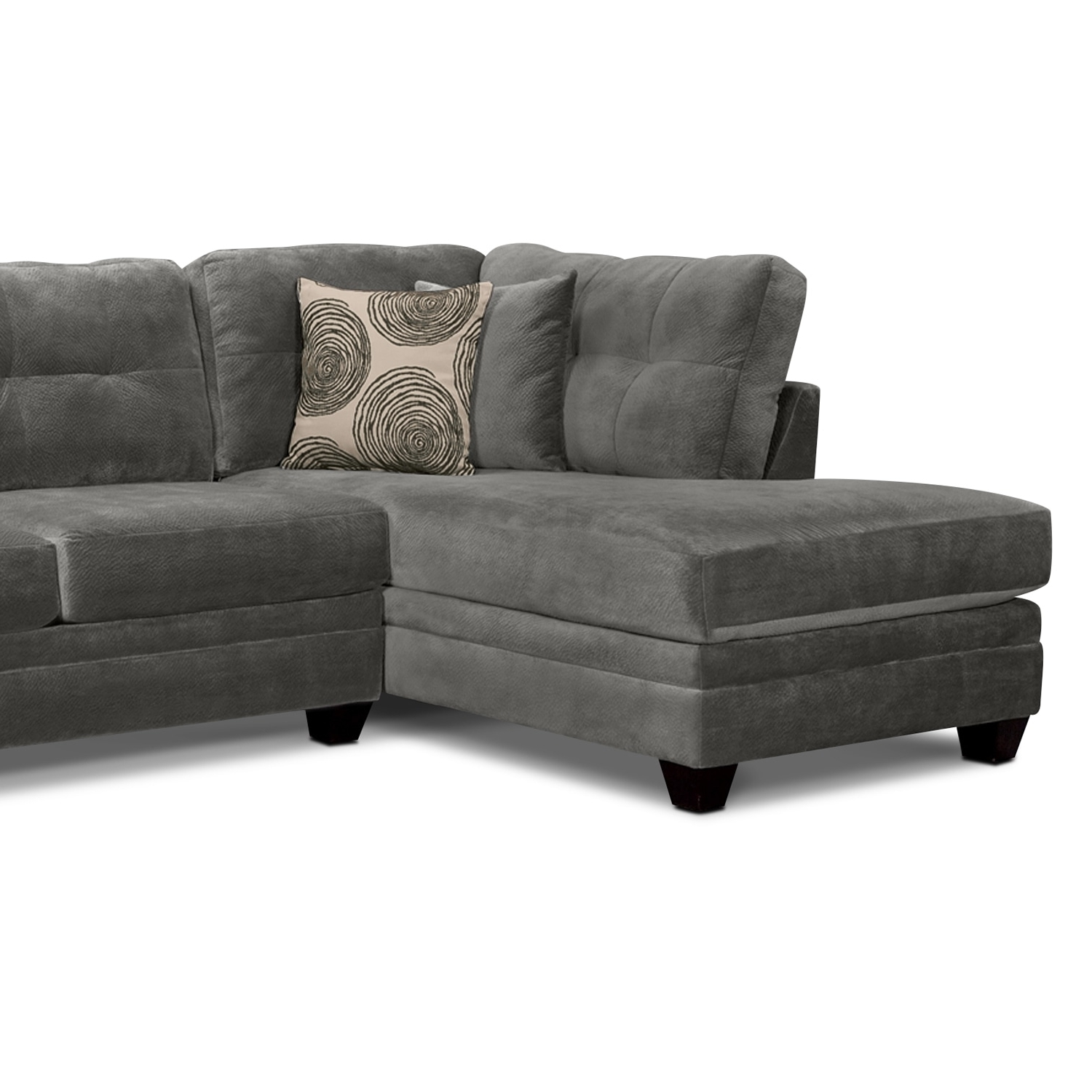 Value City Within Most Popular Gray Couches With Chaise (View 10 of 15)