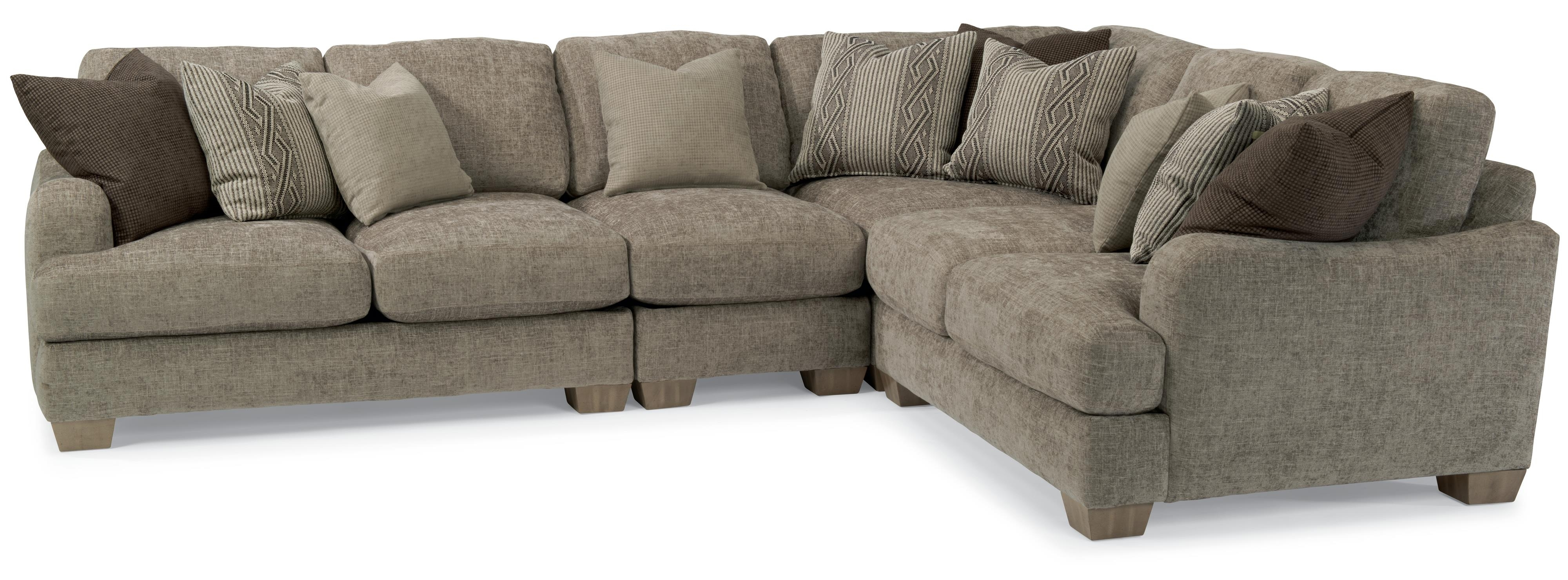 Vanessa Sectional Sofa With Loose Pillow Backflexsteel With Fashionable Kansas City Sectional Sofas (View 7 of 15)