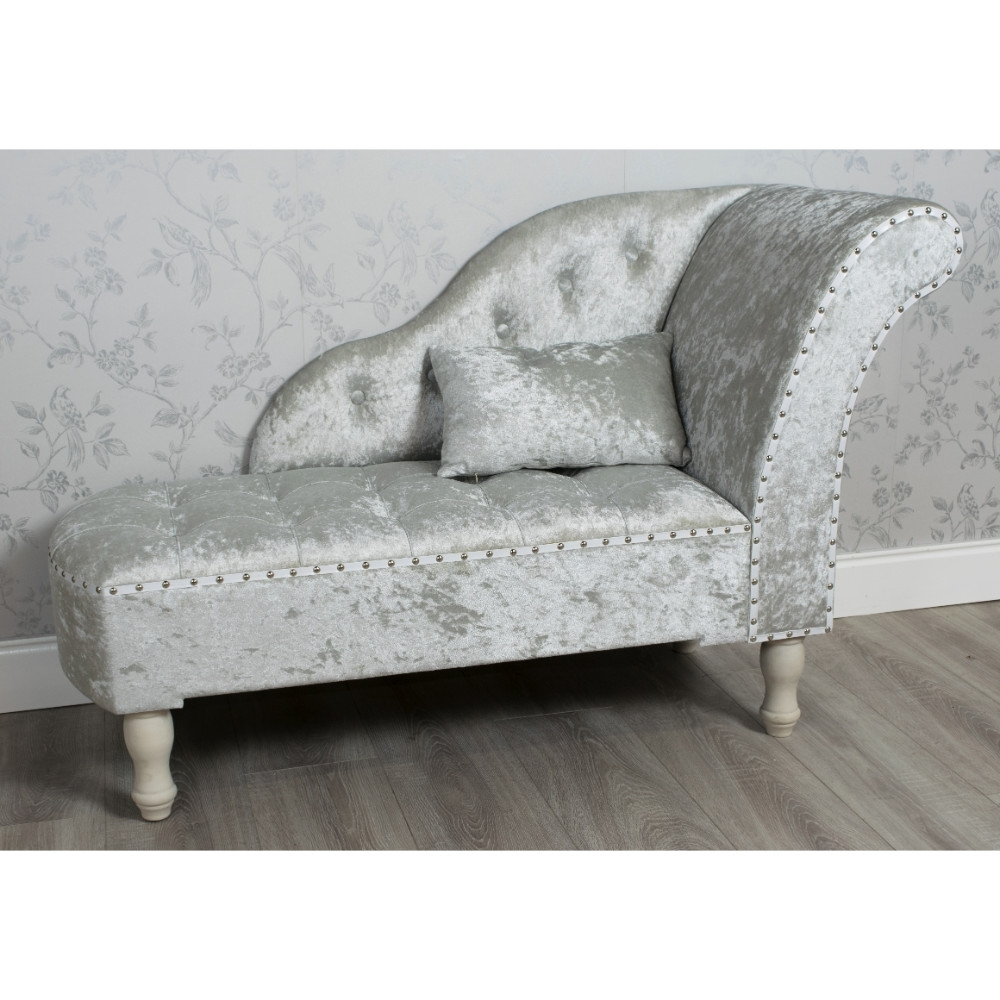 Velvet Chaise Lounges within Most Recent Crushed Velvet Chaise Lounge Grey - Allens