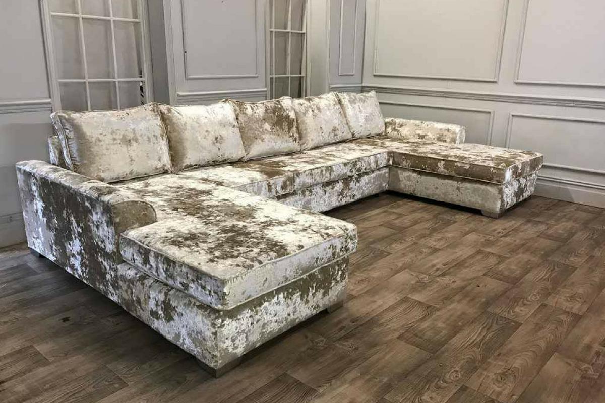 Velvet Lustro Corner Sofa (U Shape)