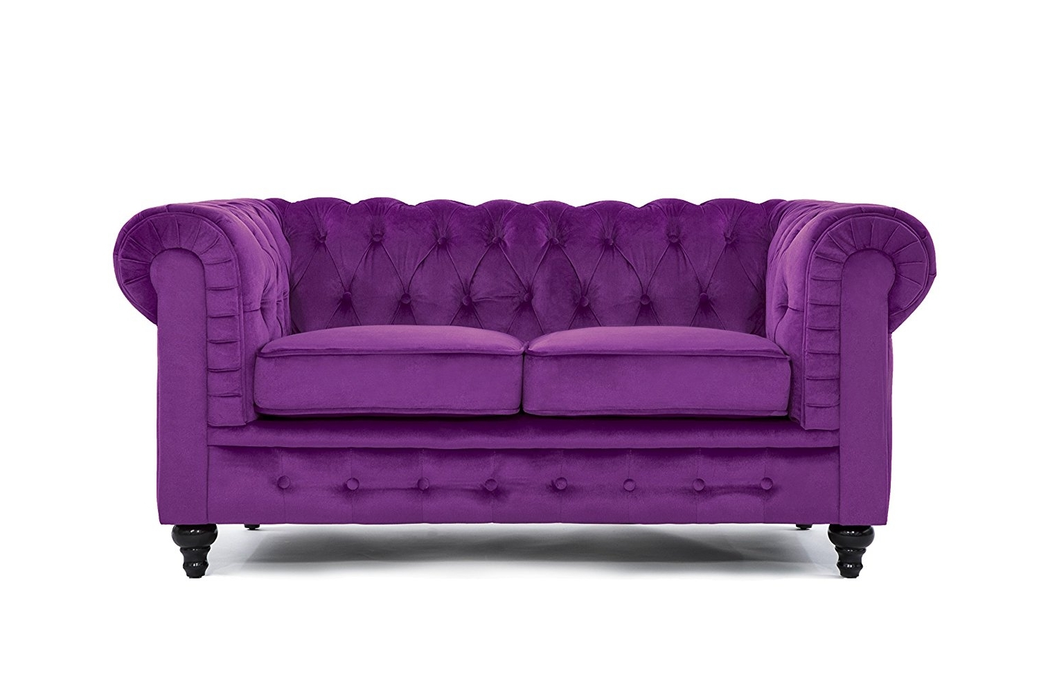 Velvet Purple Sofas For Most Up To Date Amazon: Classic Modern Scroll Arm Velvet Large Love Seat Sofa (Gallery 6 of 15)