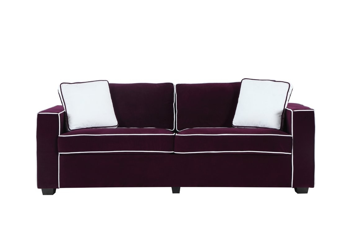 Velvet Purple Sofas Regarding 2017 Wrought Studio Arjun Modern Velvet Fabric Sofa & Reviews (View 7 of 15)