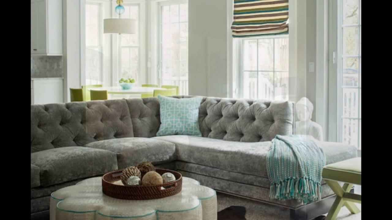 Velvet Sectional Sofas In Most Popular Gray Velvet Sectional Sofa For Living Room – Youtube (View 13 of 15)