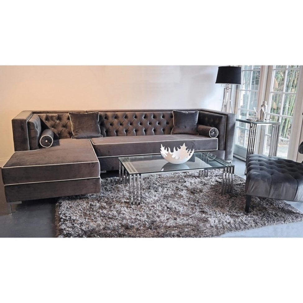Velvet Sectional Sofas Pertaining To Well Known Sectional Sofas: Sofas Center Astonishing Grey Velvet Sectional (View 15 of 15)