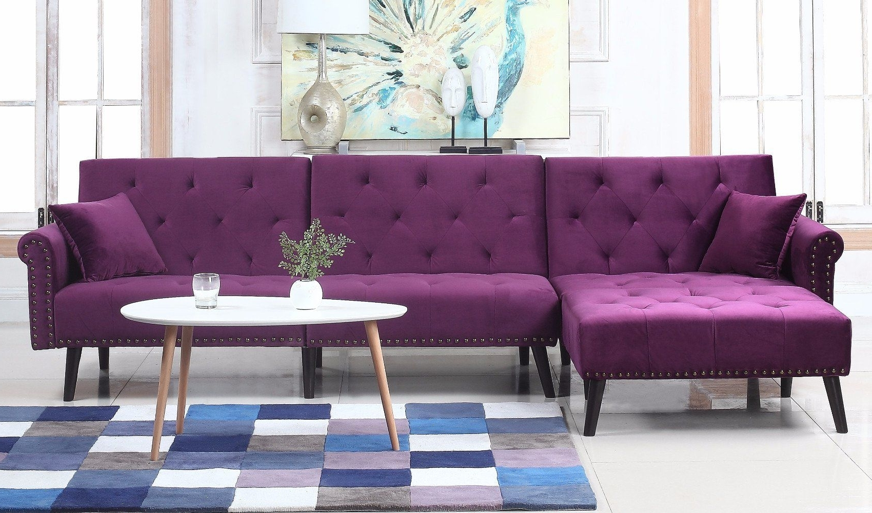 Velvet Sectional Sofas With Chaise with Widely used Victoria Velvet Sectional Futon With Chaise In Purple