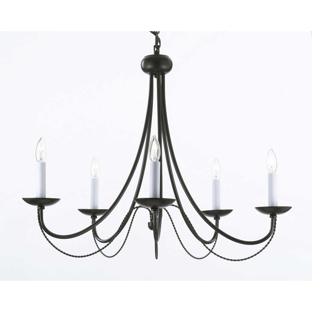 Versailles 5-Light Black Iron Chandelier-T40-460 - The Home Depot with regard to Most Recently Released Black Iron Chandeliers