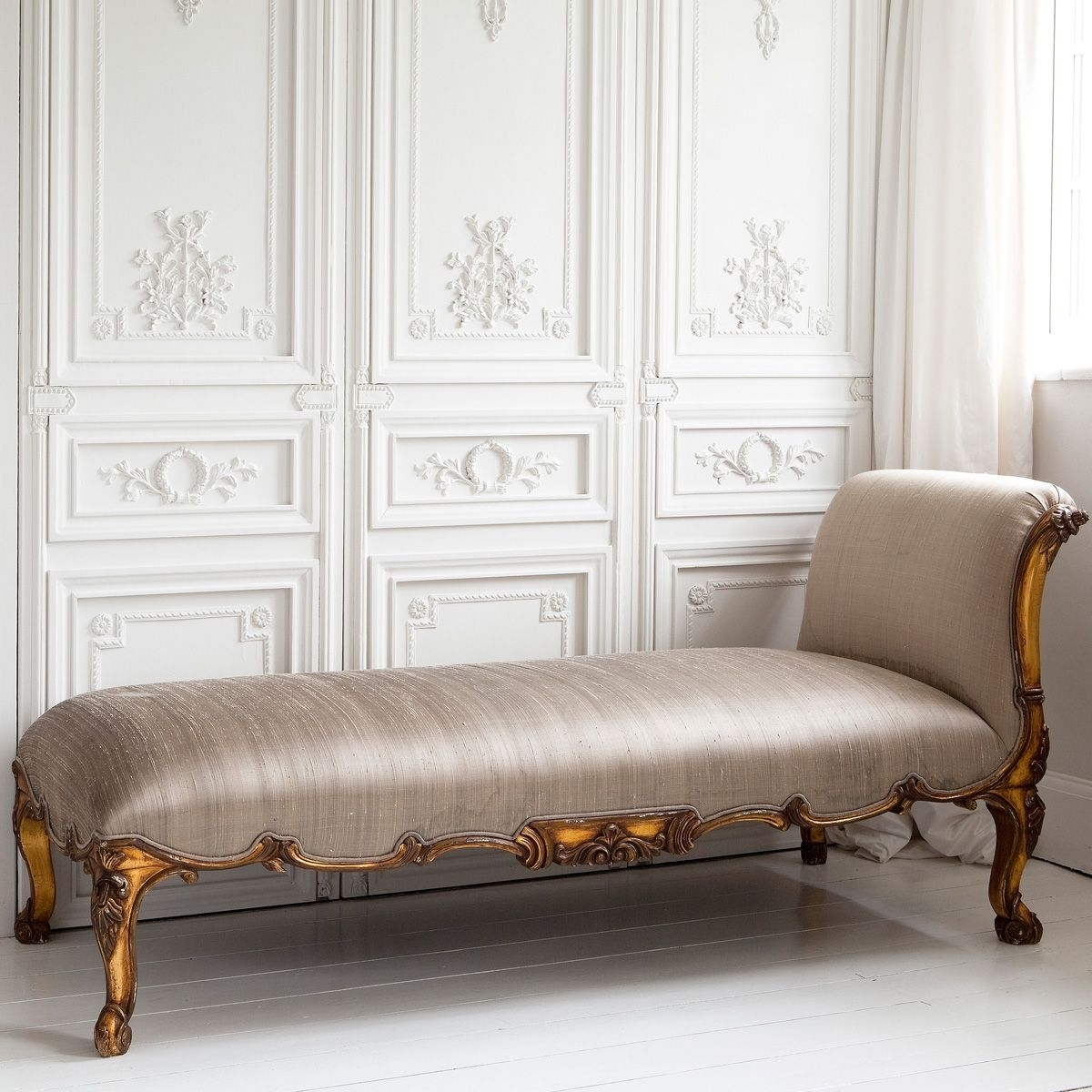 Versailles Gold Chaise Loungethe French Bedroom Company Pertaining To Newest Chaises For Bedroom (View 12 of 15)