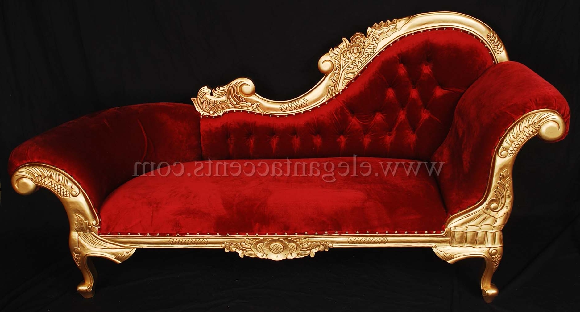 Victorian Chaises within Current Victorian Chaise - Gold & Red