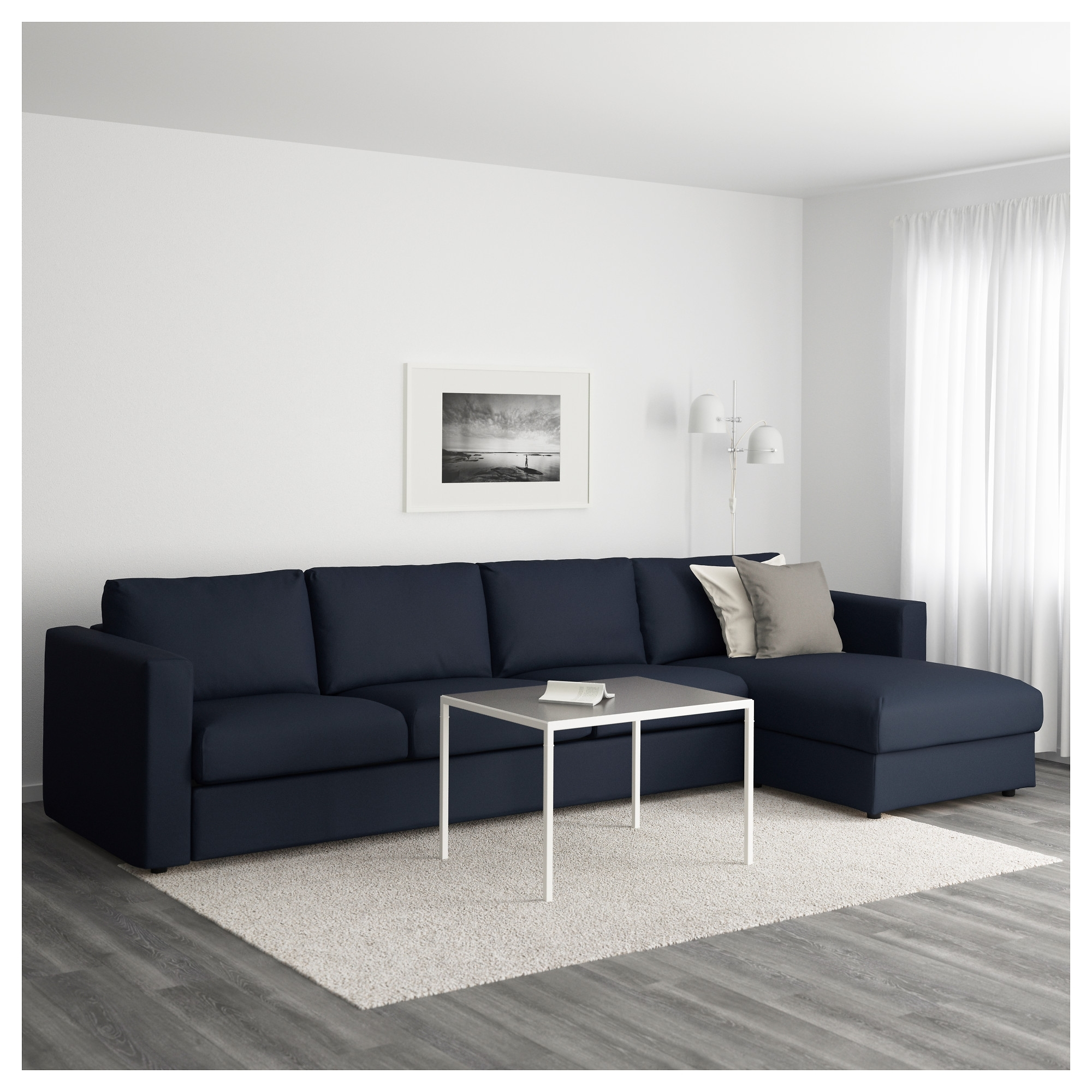 Vimle 4-Seat Sofa With Chaise Longue/gräsbo Black-Blue - Ikea within Popular 4 Seat Sofas