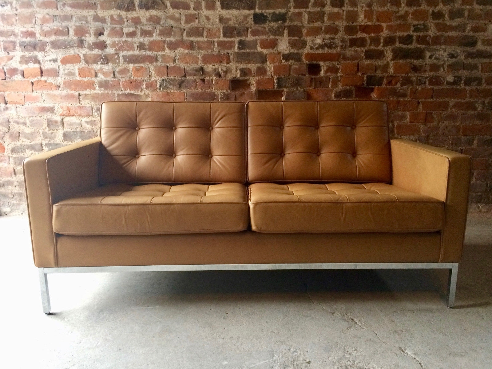 Vintage 2 Seater Leather Sofaflorence Knoll For Knoll For Sale With Most Recent Florence Sofas And Loveseats (View 13 of 15)