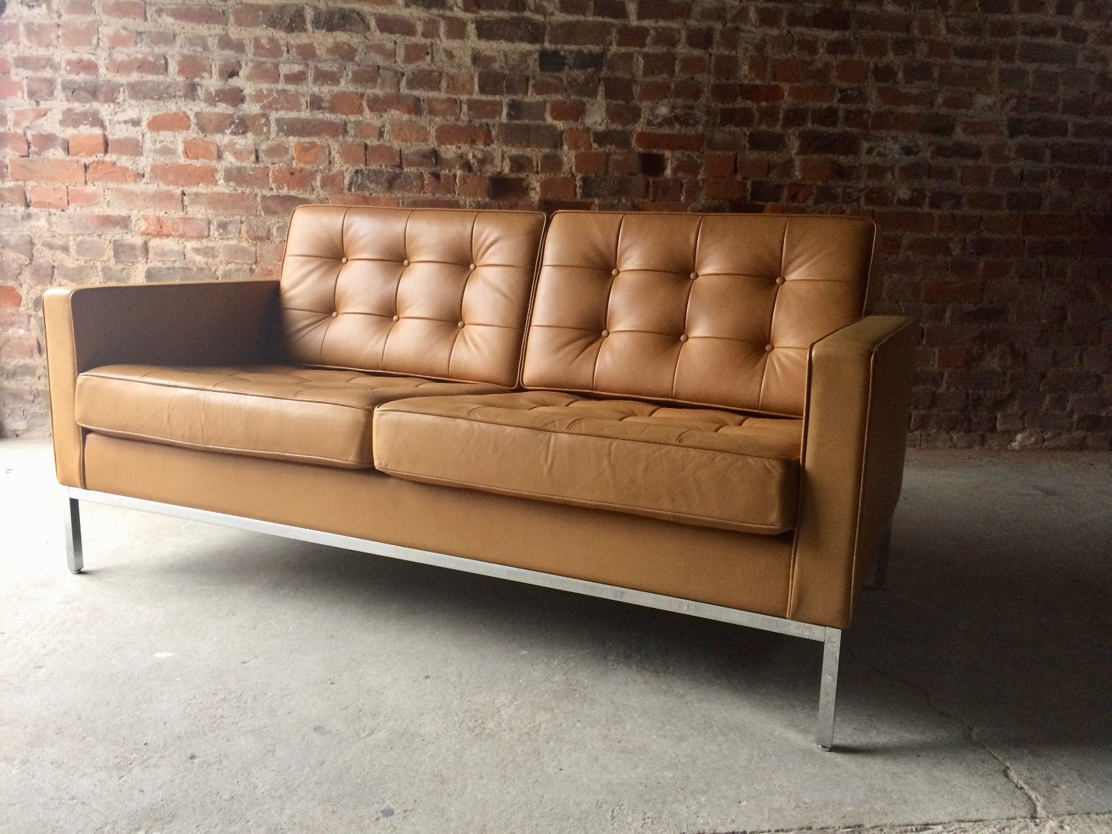 Vintage 2-Seater Leather Sofaflorence Knoll For Knoll For Sale with Newest Florence Leather Sofas