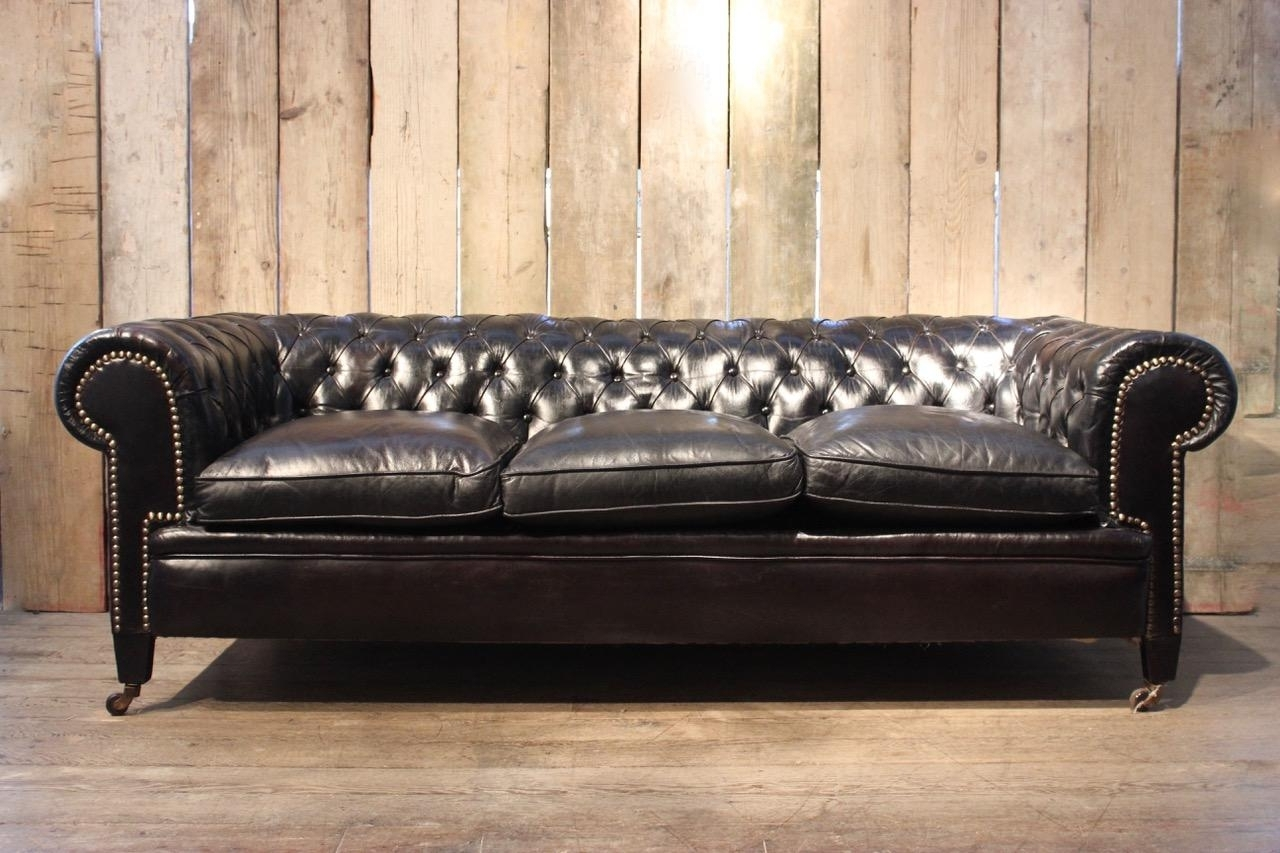 Vintage Black Leather Chesterfield Sofa For Sale At Pamono for Most Popular Vintage Chesterfield Sofas