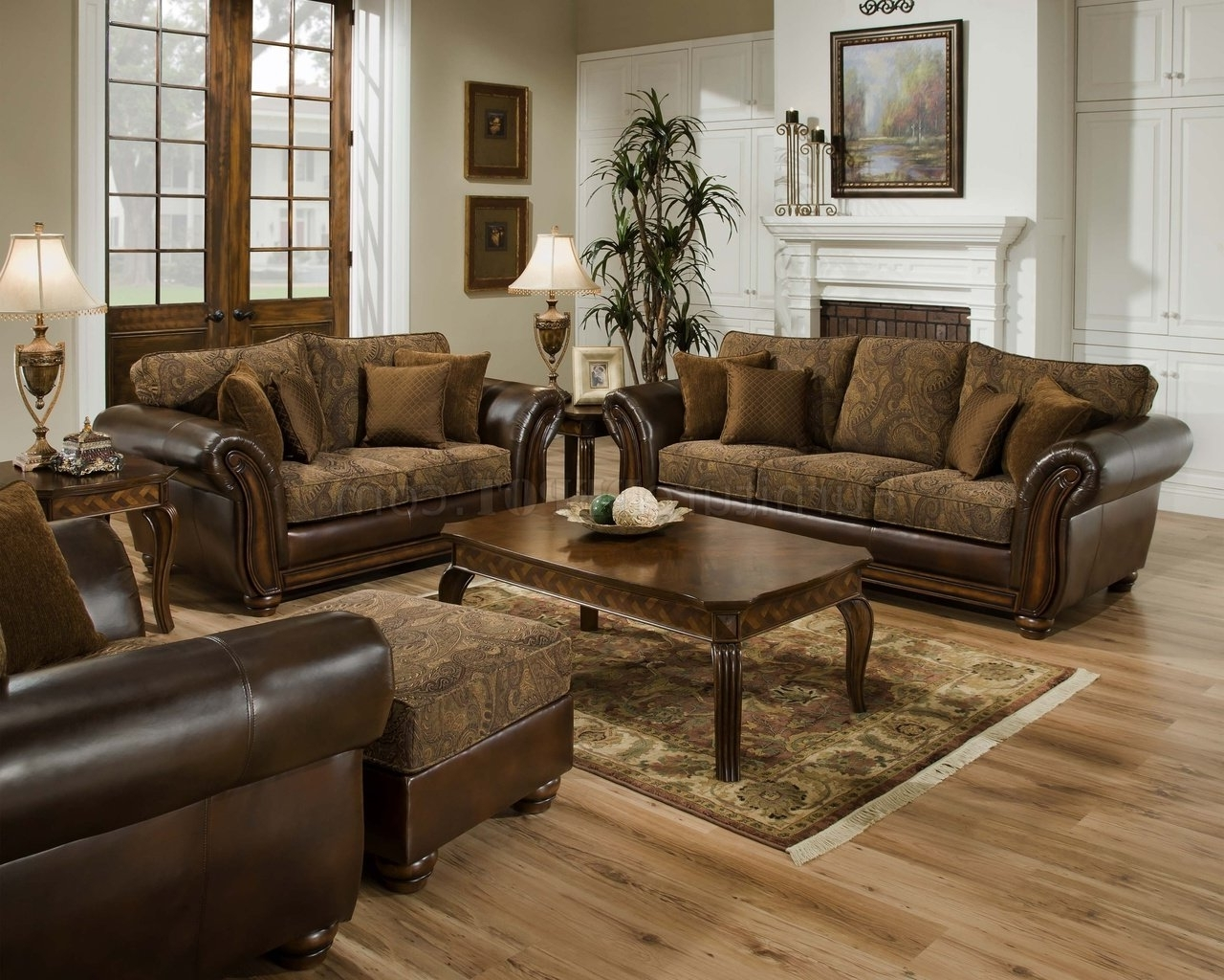 Vintage Chenille Sofa, Loveseat & Chaise Set W/bonded Leather in Widely used Sofa Loveseat And Chaise Sets