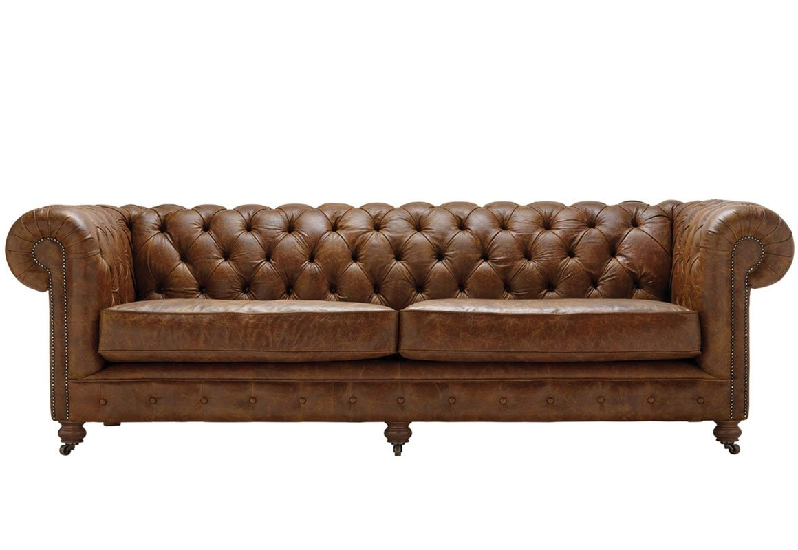 Vintage Chesterfield 4 Seater Leather Sofa - Thomas Lloyd for Well known 4 Seat Leather Sofas