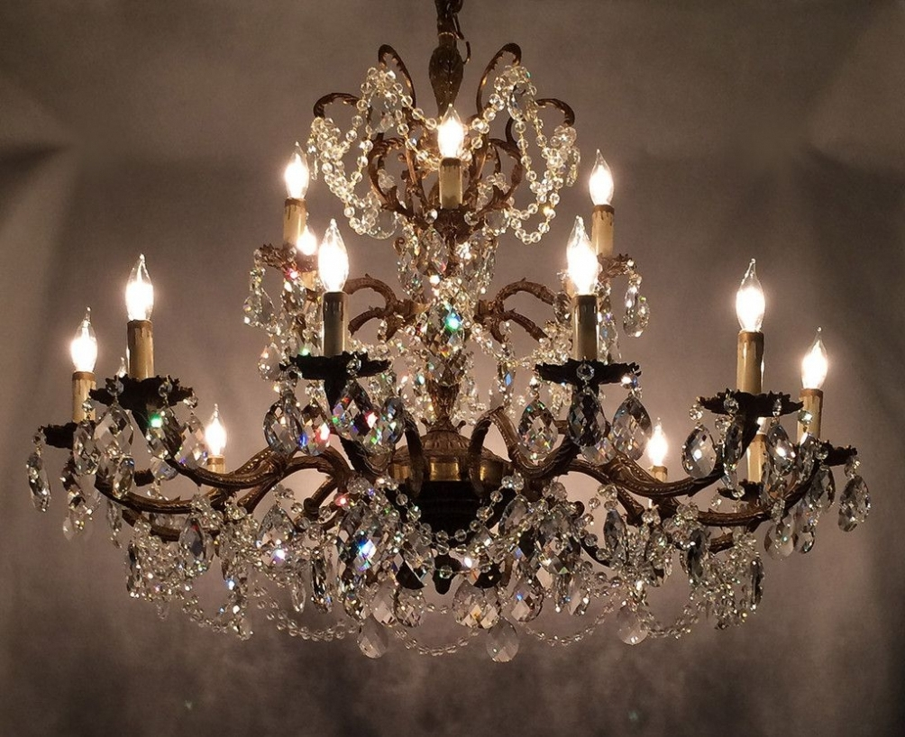 Vintage Crystal Chandelier Prisms – Chandelier Designs For Latest Brass And Crystal Chandeliers (View 9 of 15)