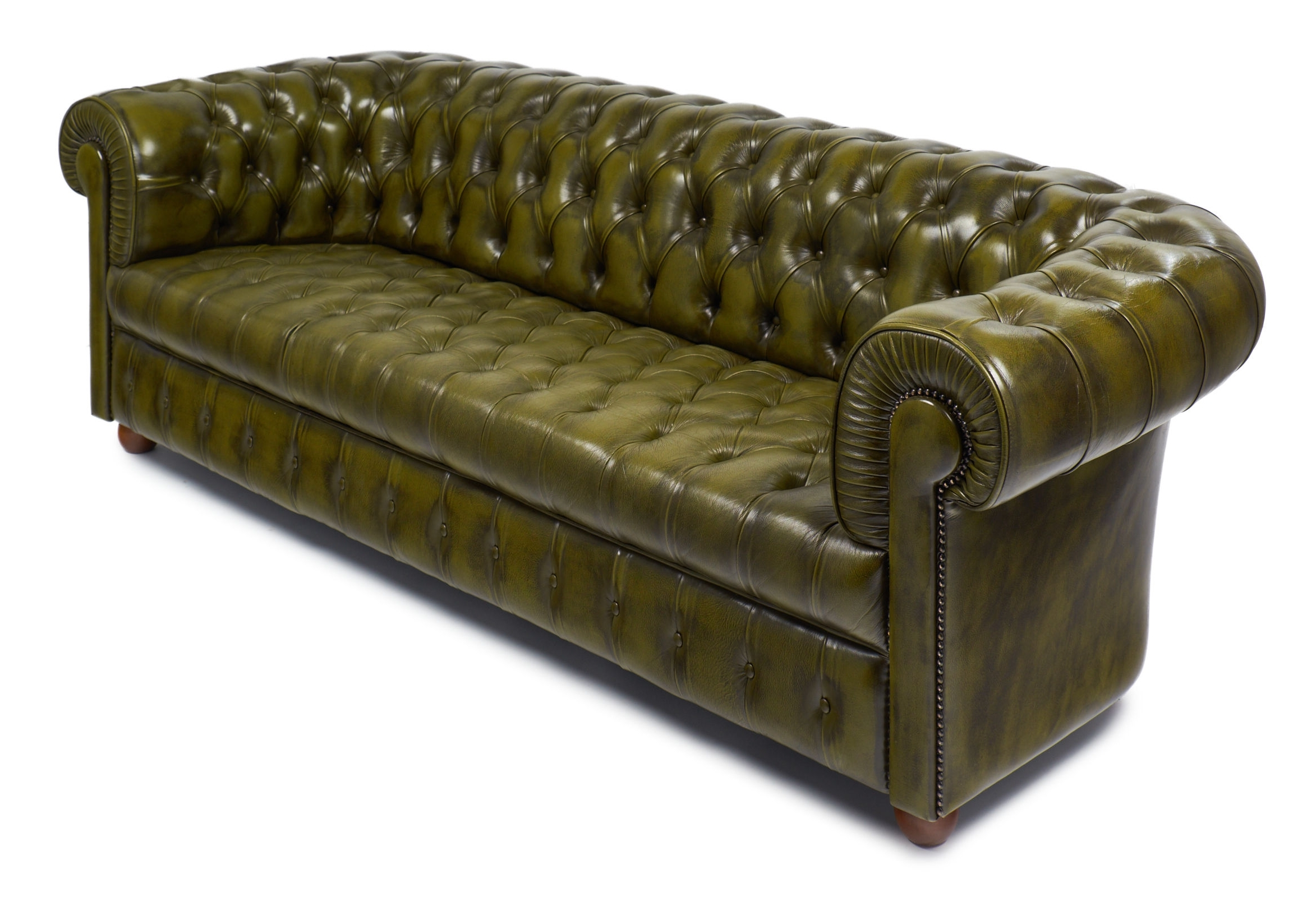 Vintage Green Leather English Chesterfield Sofa - Jean Marc Fray with regard to Preferred Vintage Chesterfield Sofas
