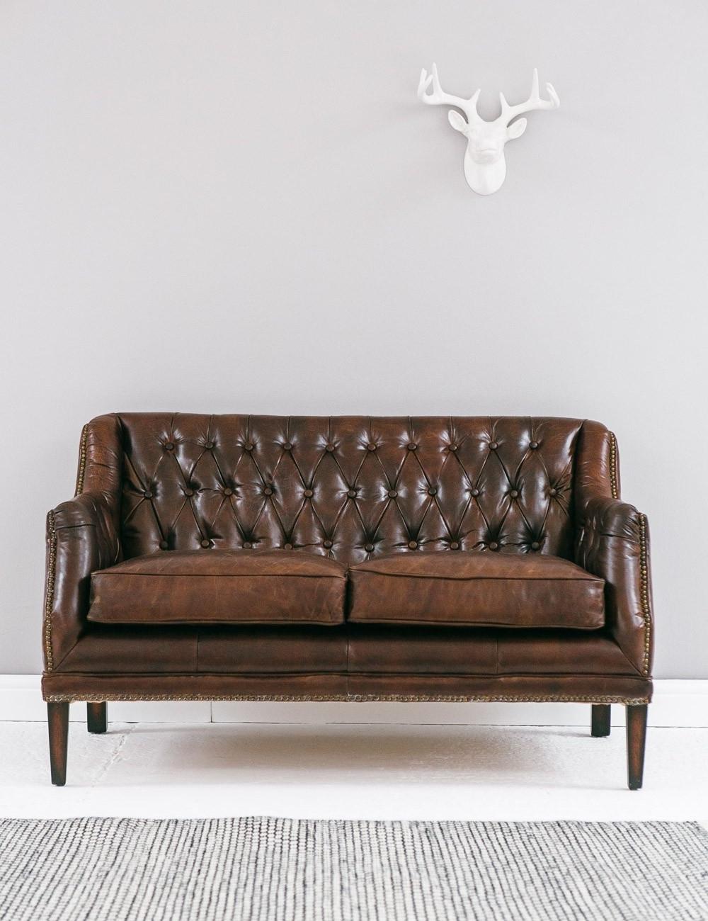 Vintage Leather Button Stud Sofa Rose Grey – Helena Source Regarding 2018 Vintage Sofas (View 13 of 15)