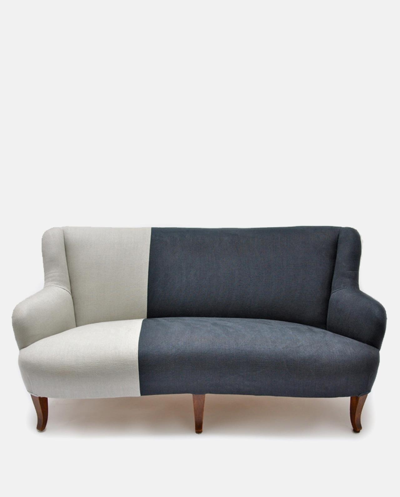 Vintage Two-Tone Sofa Designers Guild Linen