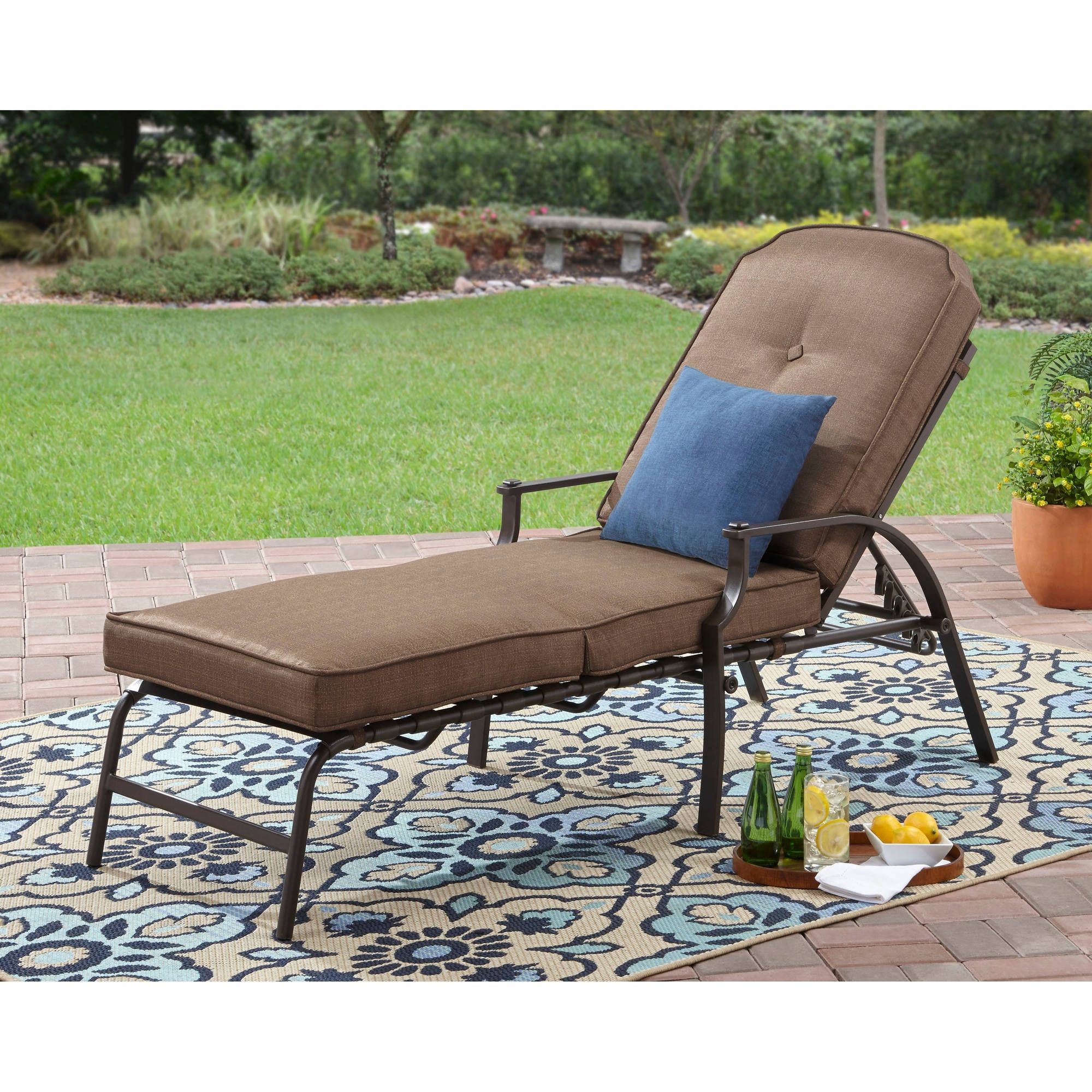 Vinyl Outdoor Chaise Lounge Chairs in Most Up-to-Date Mainstays Wentworth Chaise Lounge - Walmart