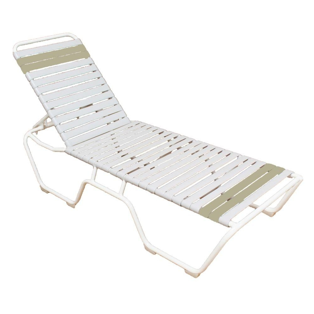 Vinyl Outdoor Chaise Lounge Chairs Inside Well Known Hampton Bay – Outdoor Chaise Lounges – Patio Chairs – The Home Depot (View 11 of 15)