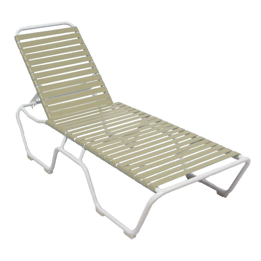 Vinyl Strap Chaise Lounge Chairs intended for 2017 Marco Island White Commercial Grade Aluminum Vinyl Strap Outdoor