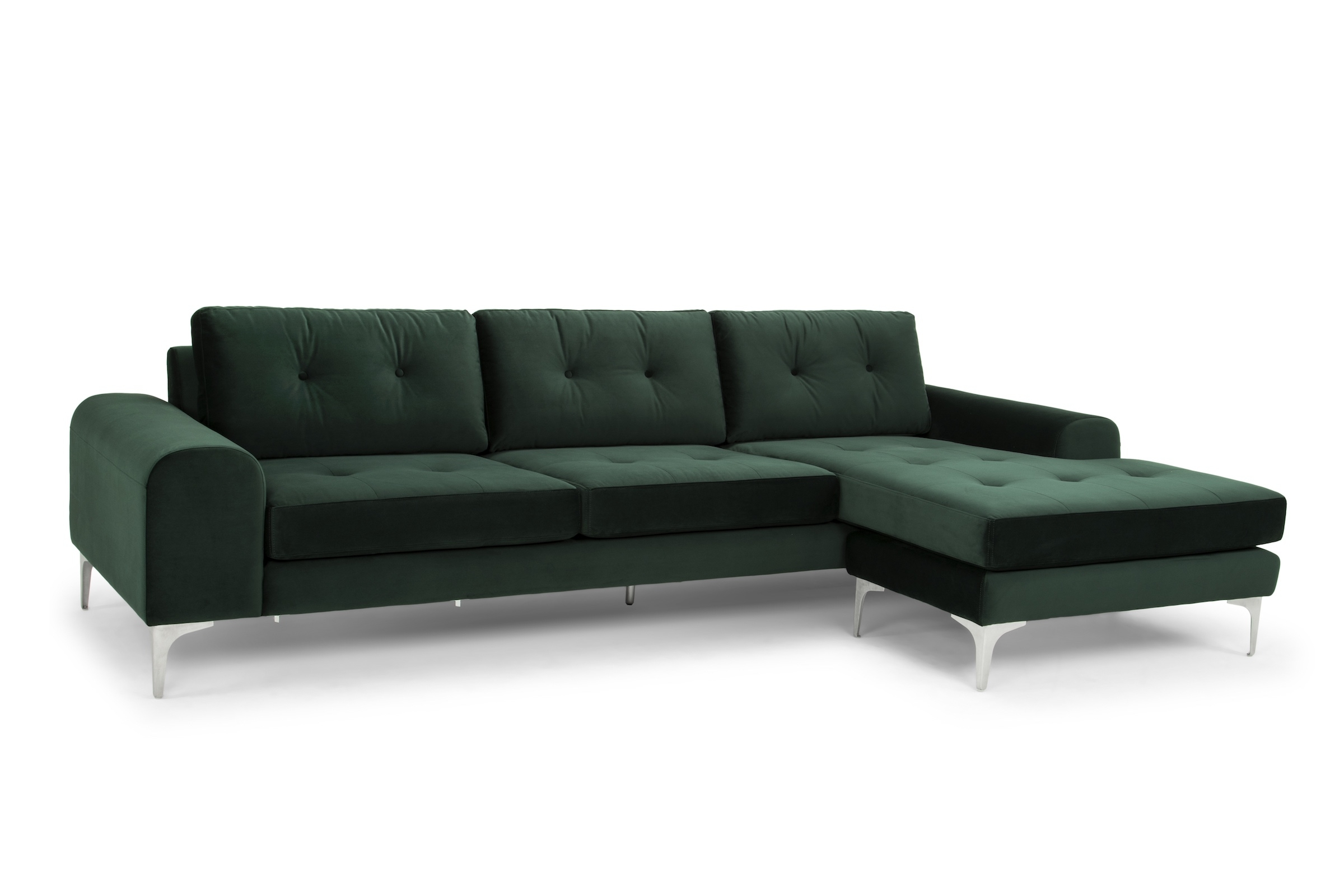 Visalia Ca Sectional Sofas With Regard To Latest Sectional Sofa In Emerald Green And Brushed Stainless – Reversible (View 15 of 15)