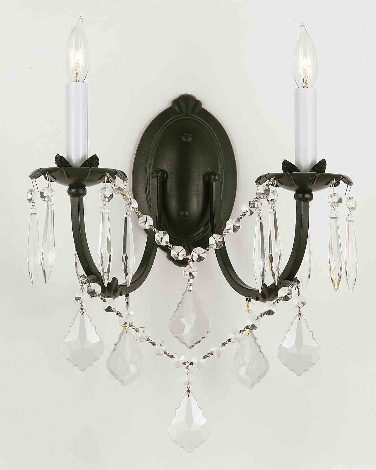 Wall Chandelier – Crystal Wall Scones – Wall Lighting Fixtures Pertaining To Latest Black Chandelier Wall Lights (View 4 of 15)