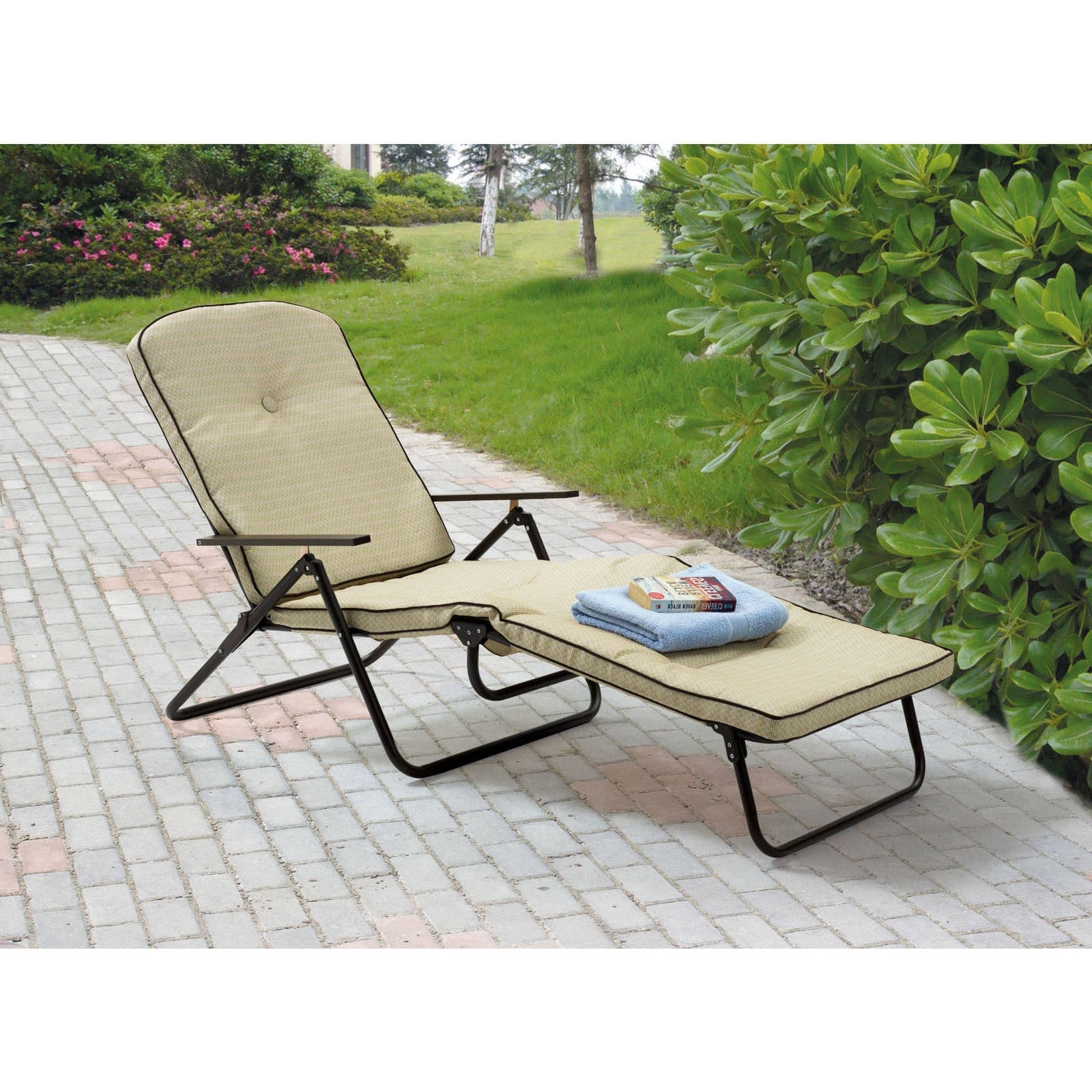 Walmart Chaises Intended For Most Current Mainstays Sand Dune Outdoor Padded Folding Chaise Lounge, Tan (View 8 of 15)