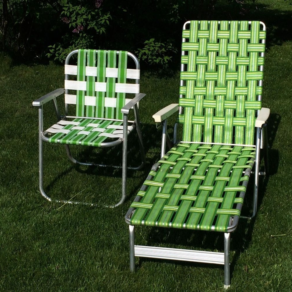 Web Chaise Lounge Lawn Chairs Inside Most Recent Vintage Green Webbed Web Cushion Aluminum Folding Chaise Lounge (View 4 of 15)