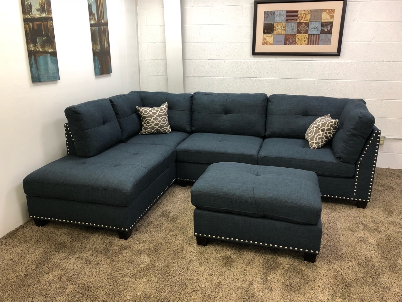 Well Known 0 In Stock)#n754R  $250 Down  Blue Studded Linen Sectional Sofa W Intended For Sectional Sofas With Chaise Lounge And Ottoman (View 14 of 15)