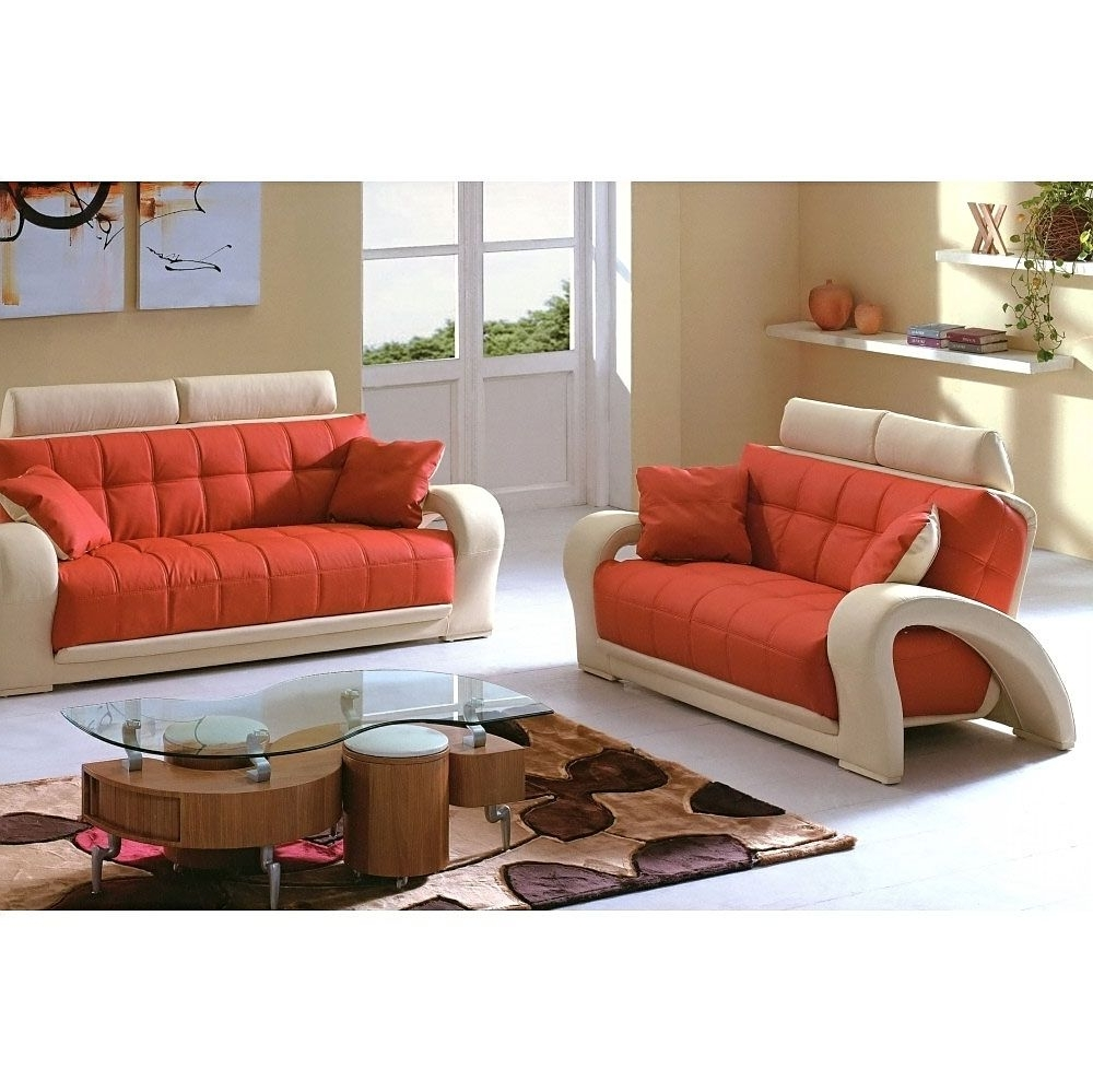 Well Known $1546 2 Pcs Living Room Set (Sofa And Loveseat) In Orange And Within Colorful Sofas And Chairs (View 3 of 15)