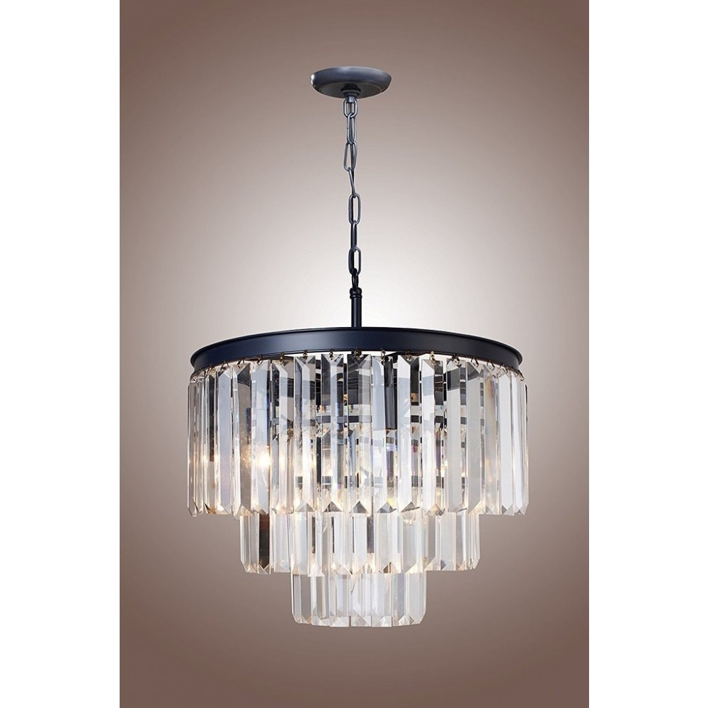 """Well Known 3 Tier Crystal Chandelier Within 21"""" Vintage Crystal Pendant Ceiling Light Fixture, 1920S (View 15 of 15)"""