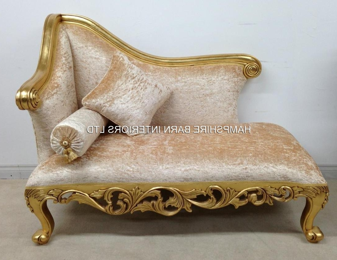 Well Known A Neoclassical Small Chaise Longue Sofa Ornate Gold Leaf Frame Inside Gold Chaise Lounges (View 14 of 15)