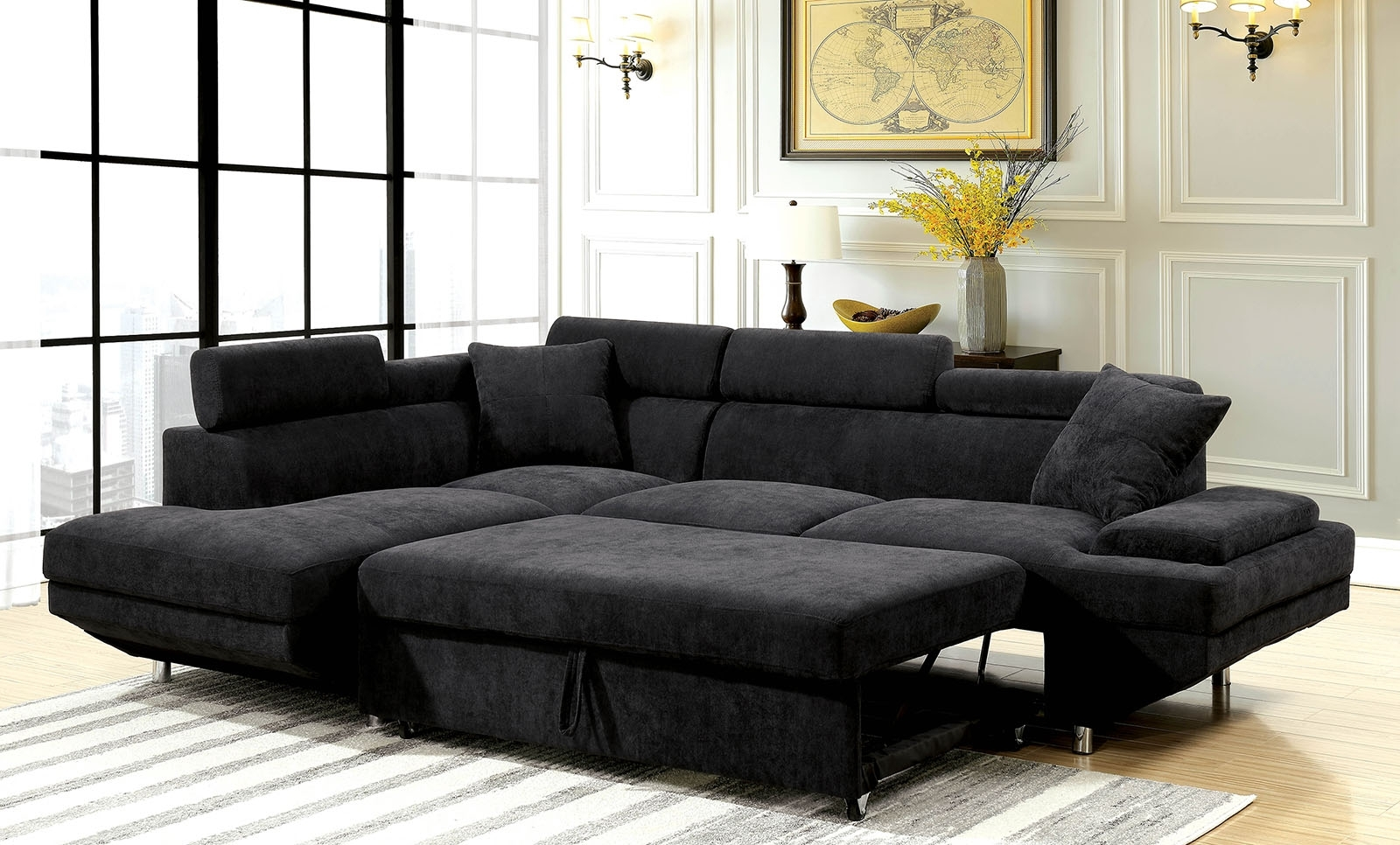 Well Known Adjustable Sectional Sofas With Queen Bed In Foreman Black Flannelette Fabric Sectional With Pull Out Bed (View 14 of 15)