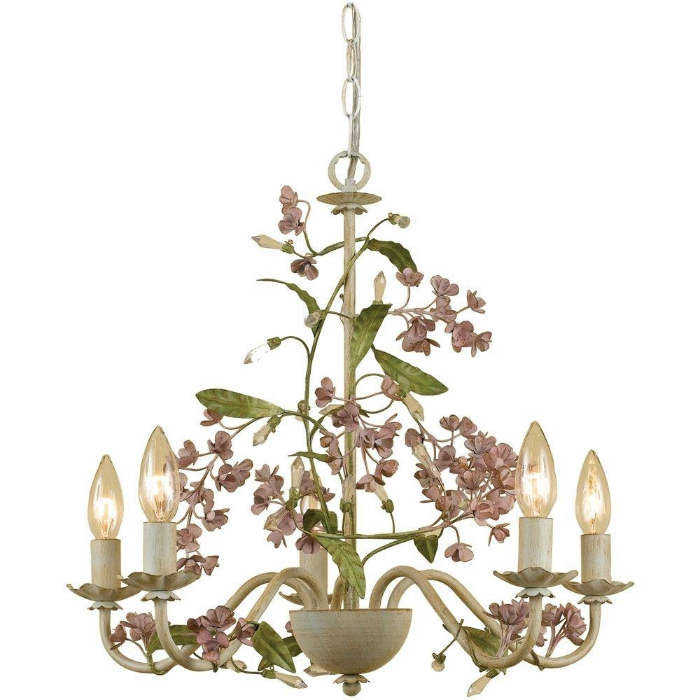 Well Known Af Lighting Grace 5 Light Antique Cream Chandelier With Floral With Cream Chandelier Lights (View 12 of 15)