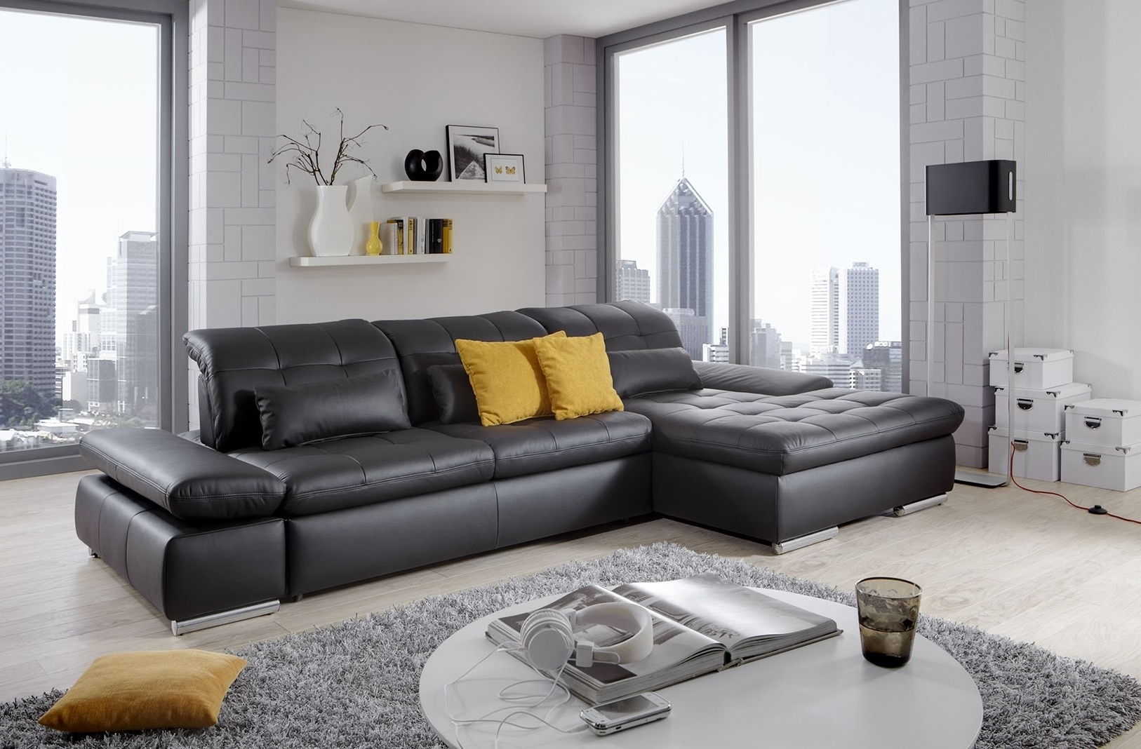 Well Known Alpine Sectional Sofa In Black Leather Left Chaise Inside Trinidad And Tobago Sectional Sofas (View 12 of 15)