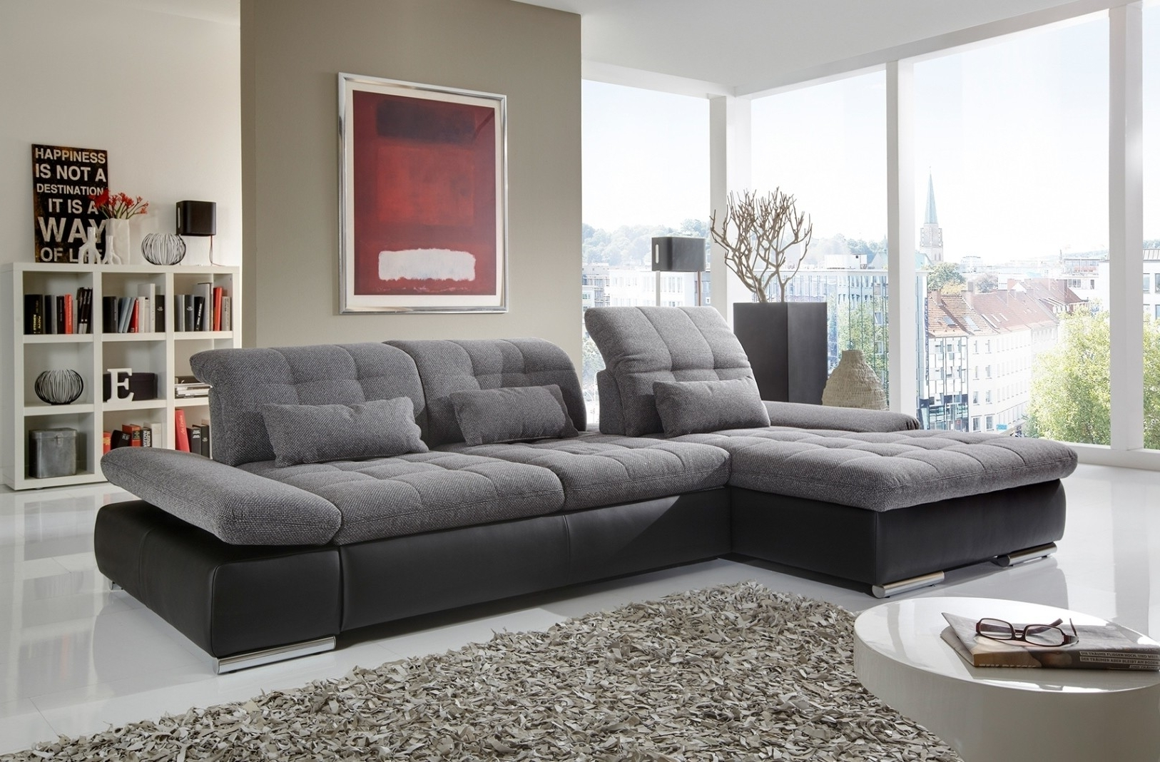 Well Known Alpine Sectional Sofa In Grey Fabric And Black Leather Left Chaise With Regard To Trinidad And Tobago Sectional Sofas (View 8 of 15)