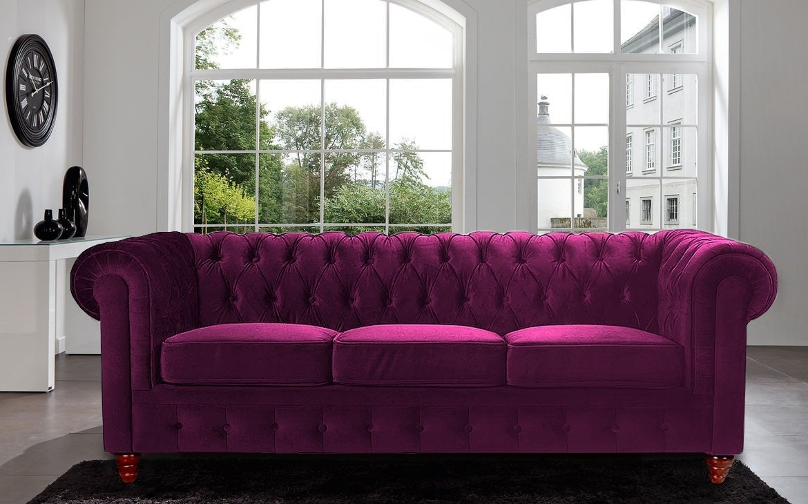 Well Known Amazon: Divano Roma Furniture Velvet Scroll Arm Tufted Button Intended For Velvet Purple Sofas (View 4 of 15)