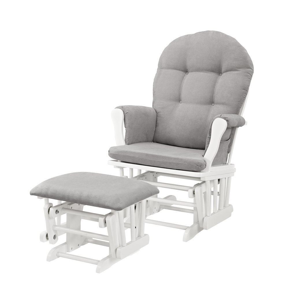 Well Known Amazon : Windsor Glider And Ottoman, White With Gray Cushion Regarding Gliders With Ottoman (View 6 of 15)