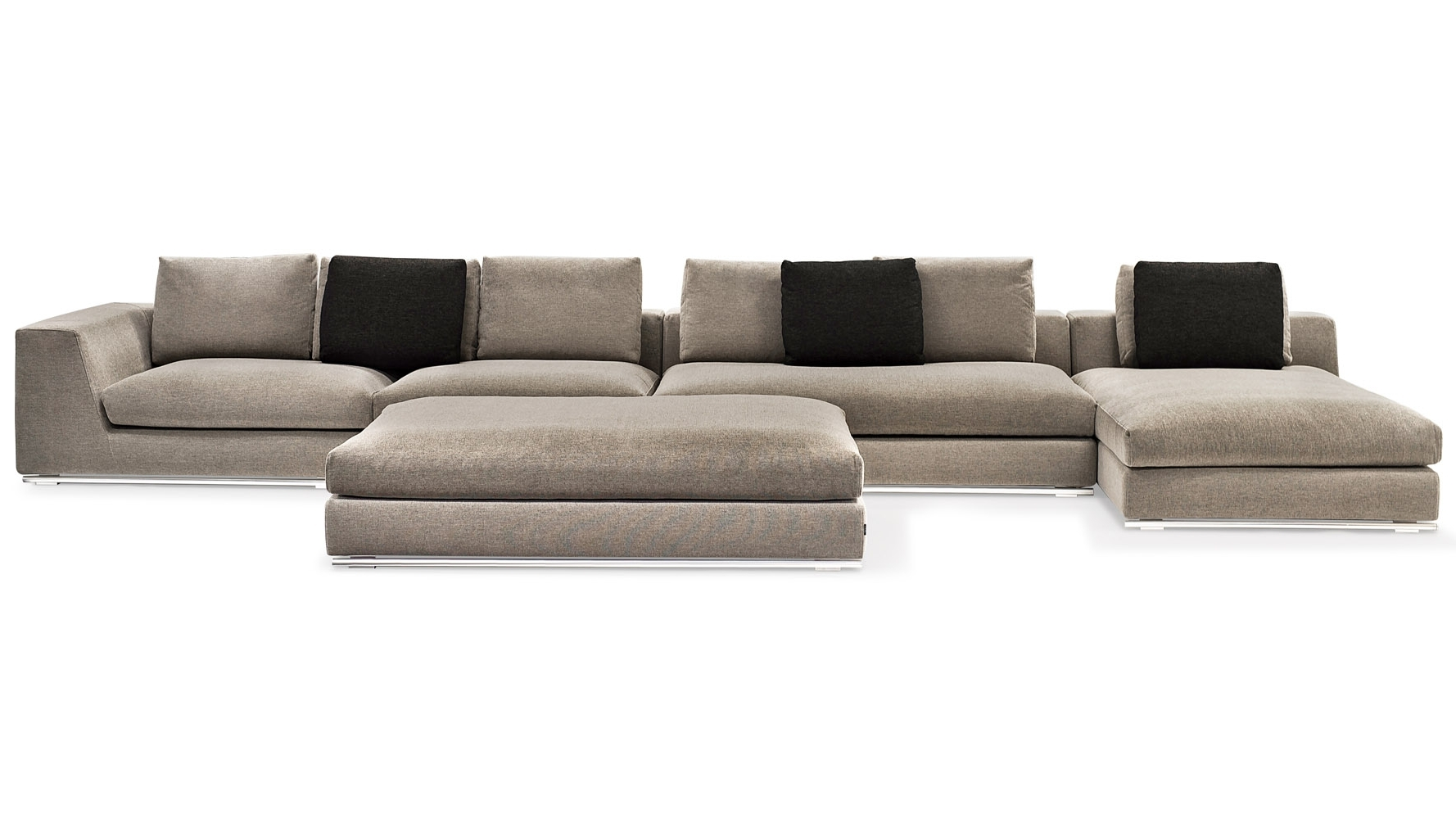Well Known Armless Sectional Sofas Regarding Comodo Sectional Sofa With Ottoman – Grey (View 11 of 15)
