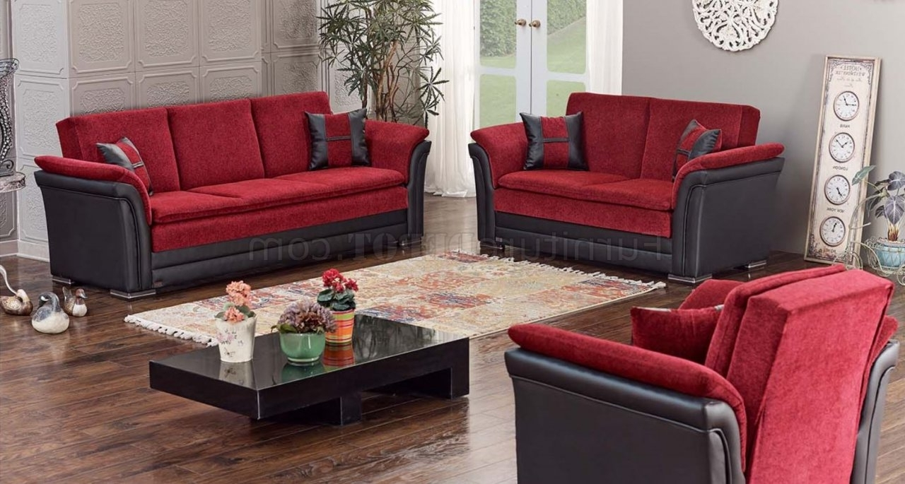 Well Known Austin Sofa Bed Convertible In Red & Blackempire W/options Regarding Red And Black Sofas (View 14 of 15)