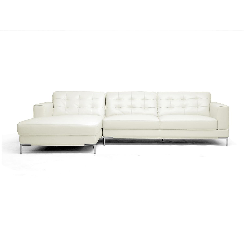 Well Known Babbitt Sleek Ivory Bi Cast Leather Modern Sectional Sofa – Free Regarding Sleek Sectional Sofas (View 14 of 15)
