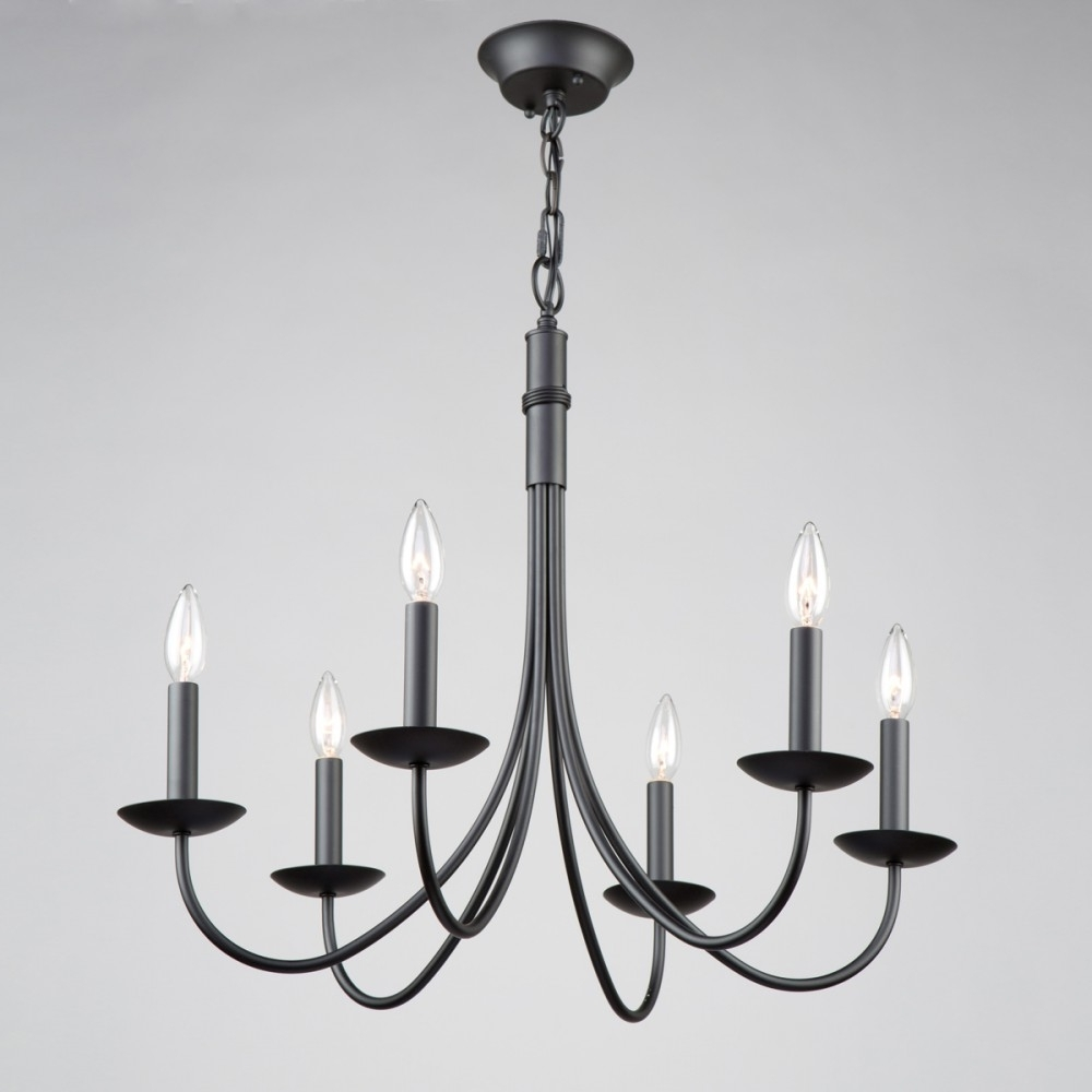 Well Known Black Chandelier Throughout Wrought Iron 6 Light Black Chandelier (View 12 of 15)