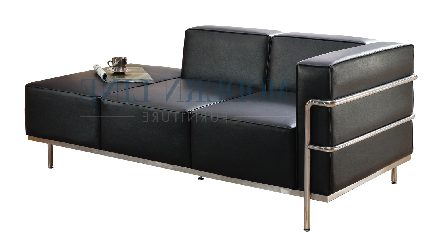 Well Known Black Leather Chaises Regarding Furniture: Elegant Black Leather Chaise For Living Room (View 4 of 15)